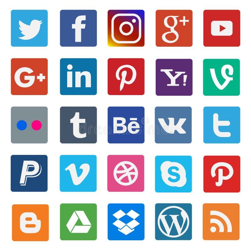 Kolorowa ogólnospołeczna medialna płaska ikona na popularnym royalty ilustracja