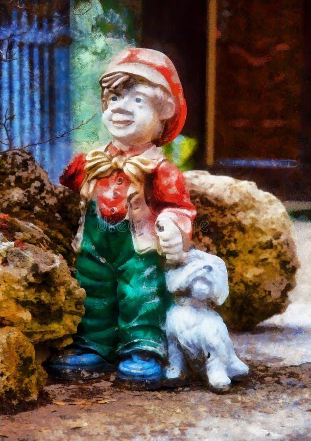 Kolorowa ogr?du kar?a statua z ma?ym szczeniakiem royalty ilustracja