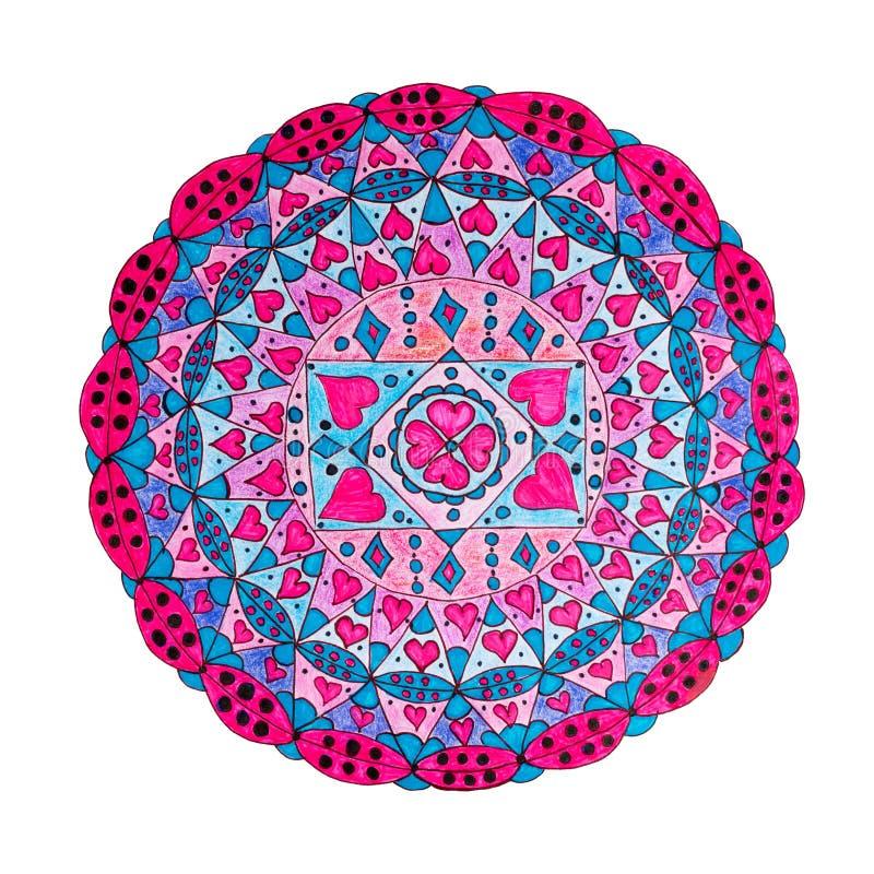Kolorowa orientalna dekoracyjna ręka rysujący mandala wzór ilustracja wektor