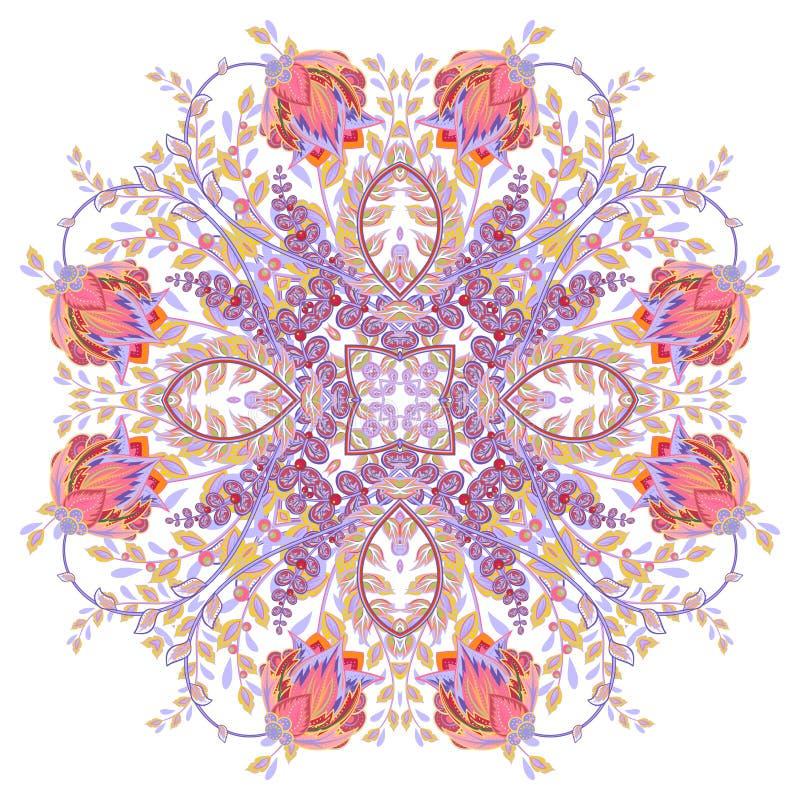 Kolorowa ornamentacyjna kwiecista Paisley chusta, bandanna, poduszka, szalik deseniowy kwadrat Szczegółowy kwiecisty szalika proj ilustracja wektor