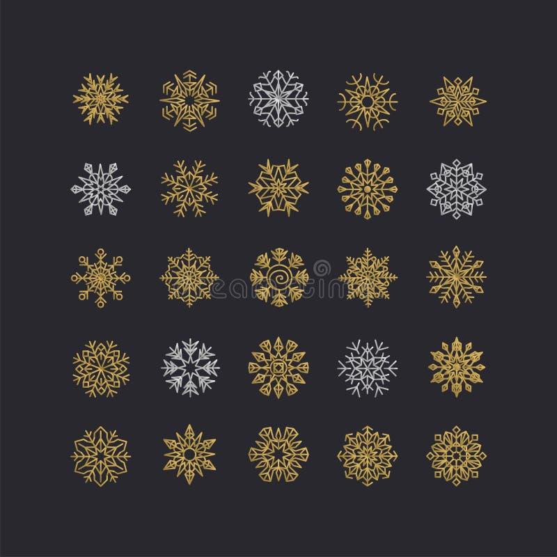 Kolorowa płatek śniegu kolekcja odizolowywająca na czarnym tle royalty ilustracja