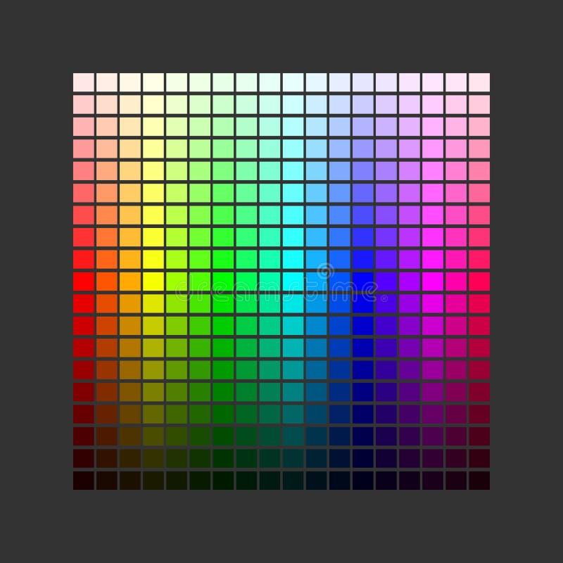 kolorowa paleta Set jaskrawi kolory t?czy paleta Wektorowa ilustracja odizolowywaj?ca na ciemnym tle ilustracja wektor