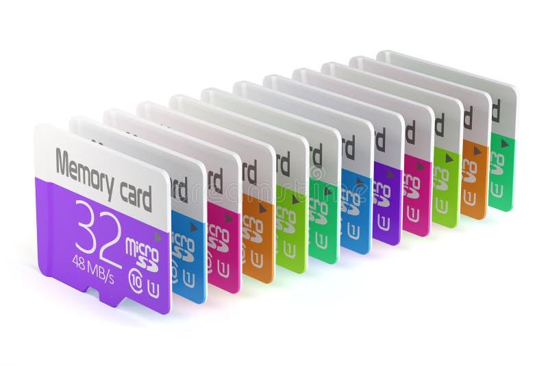 Kolorowa pamięć mikro sd karty sterta ilustracji