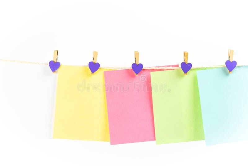Kolorowa papierowych kart wisząca arkana odizolowywająca na białym tle zdjęcia royalty free