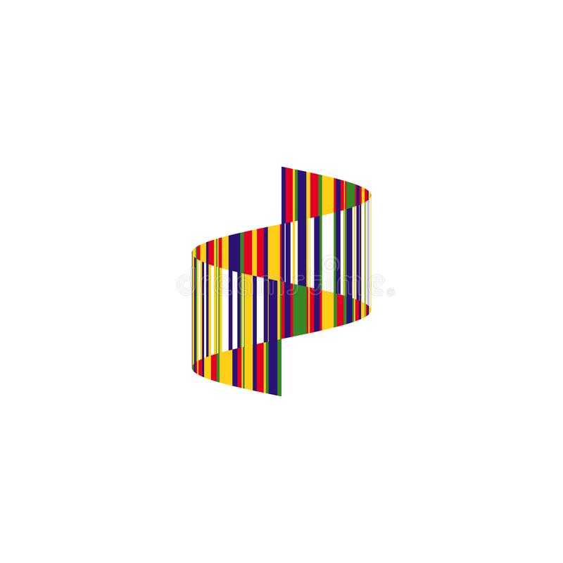 Kolorowa pasiasta falista zygzakowata ikona Abstrakcjonistyczny pionowo tasiemkowy emblemata projekt, odosobniony falowy kształt, ilustracji