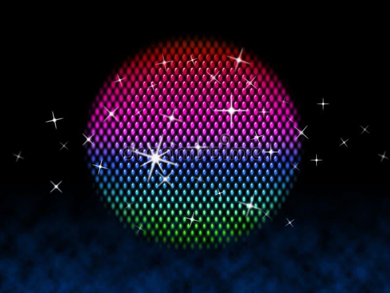 Kolorowa piłka Znaczy dyskoteki oświetlenie I gwiazdy ilustracja wektor