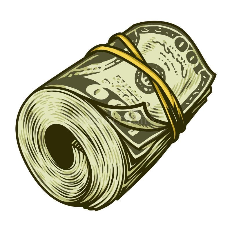 Kolorowa pieniądze rolka dolara pojęcie ilustracji