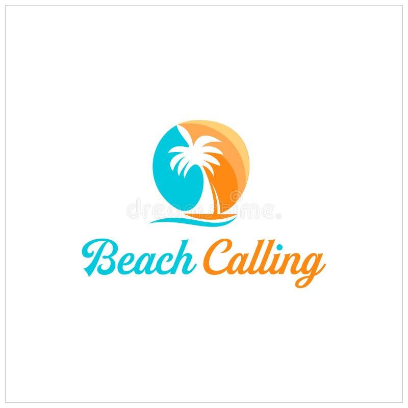 Kolorowa plaża zachodu słońca z palmą i ilustracją łodzi żaglowych ilustracja wektor