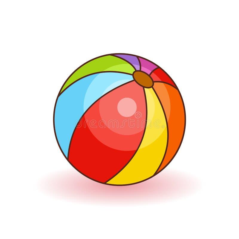 Kolorowa plażowej piłki wektoru ilustracja Biel, czerwień, kolor żółty i błękitna plażowa piłka odizolowywający na białym tle, ilustracja wektor