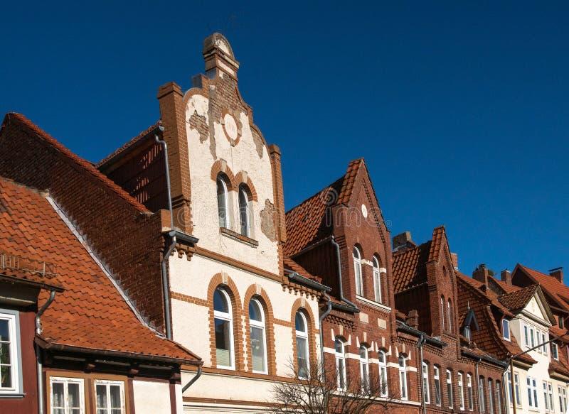 Kolorowa połówka cembrował domy w Duderstadt, Niemcy obrazy stock