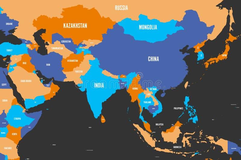 Kolorowa polityczna mapa westernu, południowego i wschodniego Azja, Prosta płaska wektorowa ilustracja royalty ilustracja