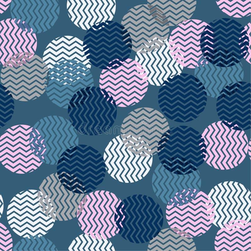 Kolorowa polki kropka w zygzakowatego wzoru inside bezszwowym wektorze dla ilustracja wektor