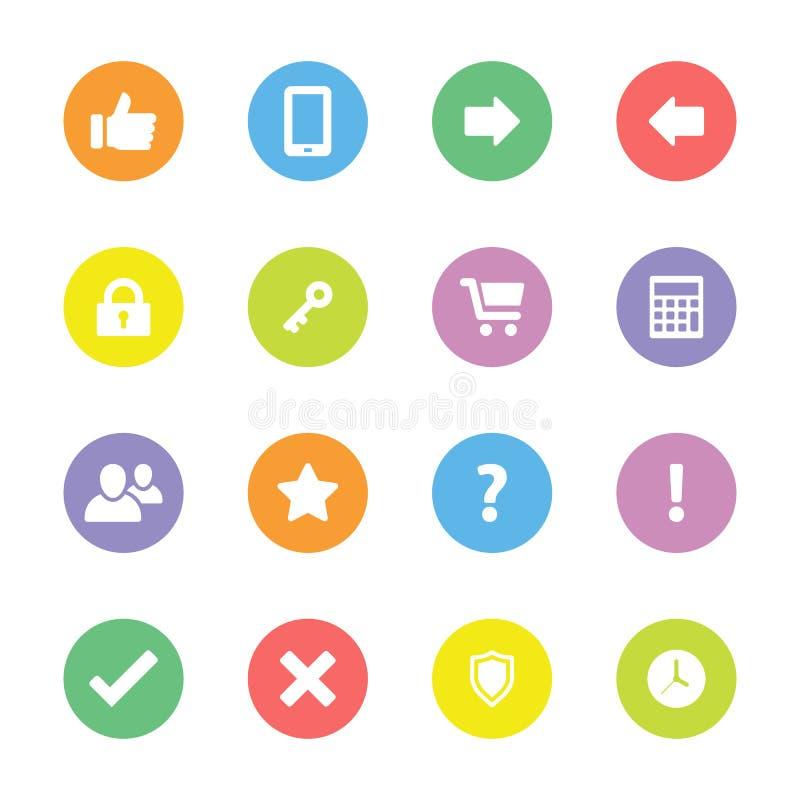 Kolorowa prosta płaska ikona ustawia 2 na okręgu royalty ilustracja