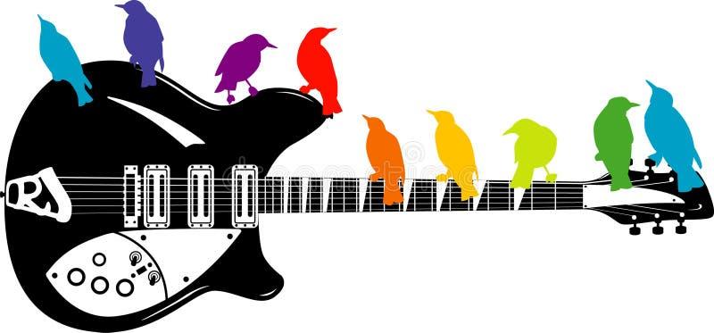 kolorowa ptak gitara royalty ilustracja