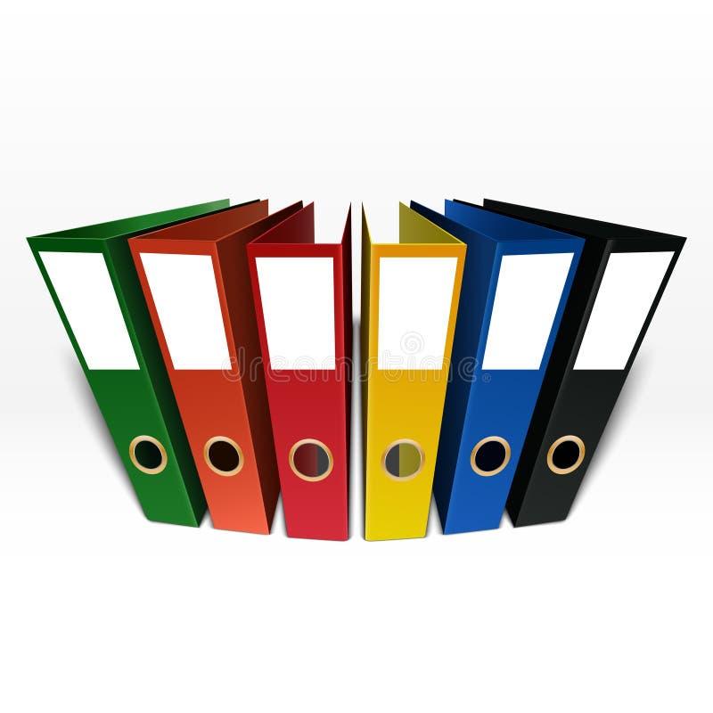 Kolorowa pudełkowatej kartoteki falcówka odizolowywająca na białym tle royalty ilustracja