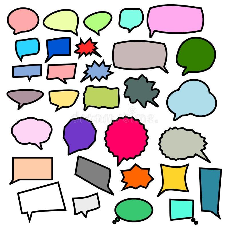 Kolorowa pusta mowa gulgocze, różny kształt ustawiający odizolowywającym na białym tle; wektorowa ilustracja ilustracji