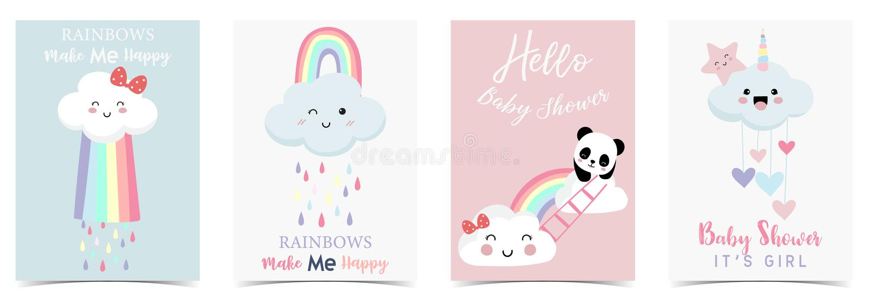 Kolorowa ręka rysująca śliczna karta z tęczą, sercem, chmurą, pandą i deszczem, royalty ilustracja