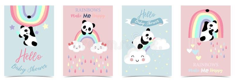 Kolorowa ręka rysująca śliczna karta z tęczą, sercem, chmurą, pandą i deszczem, ilustracji