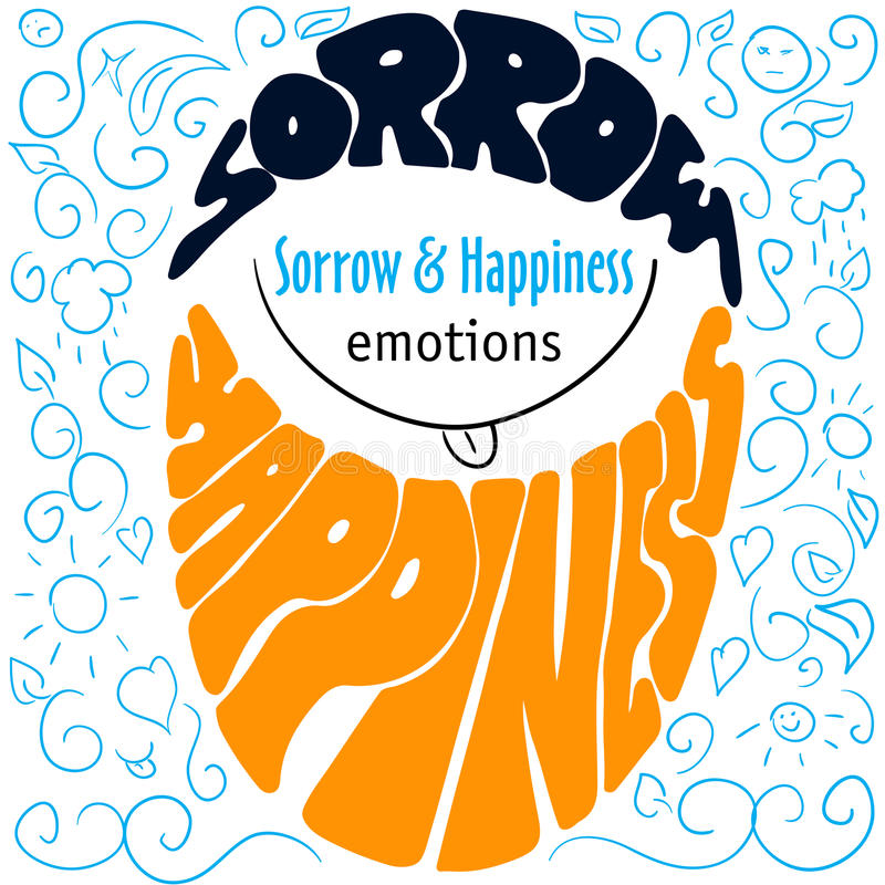 Kolorowa ręka rysować emocje pisze list stroskanie i szczęście ilustracji