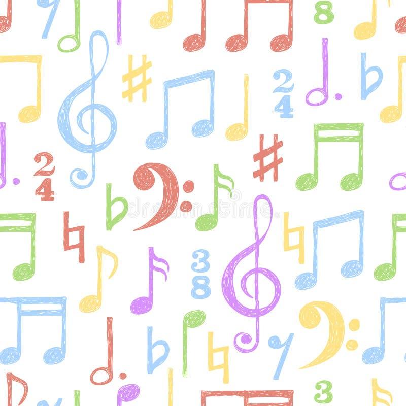 Kolorowa ręka rysująca muzyka zauważa bezszwowego wzór ilustracja wektor
