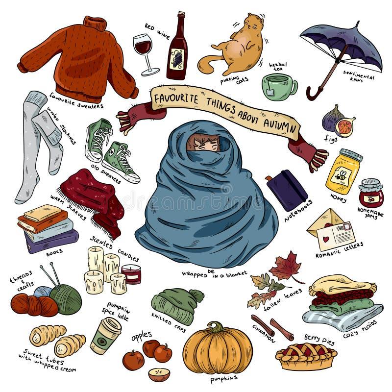 Kolorowa ręka rysujący doodle majchery z literowanie kreskówką ustawiającą jesień protestują ilustracja wektor
