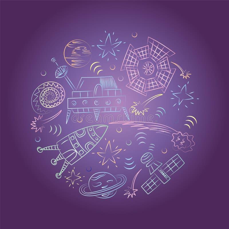 Kolorowa ręka Rysujący Doodle statki kosmiczni, rakiety, Spada gwiazdy, planety i komety Układający w okręgu na nocnym niebie, bł royalty ilustracja