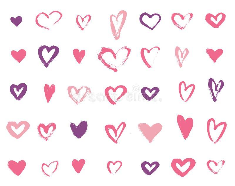 Kolorowa ręka rysujący kierowy miłość wektor Grunge walentynki karty wektor royalty ilustracja
