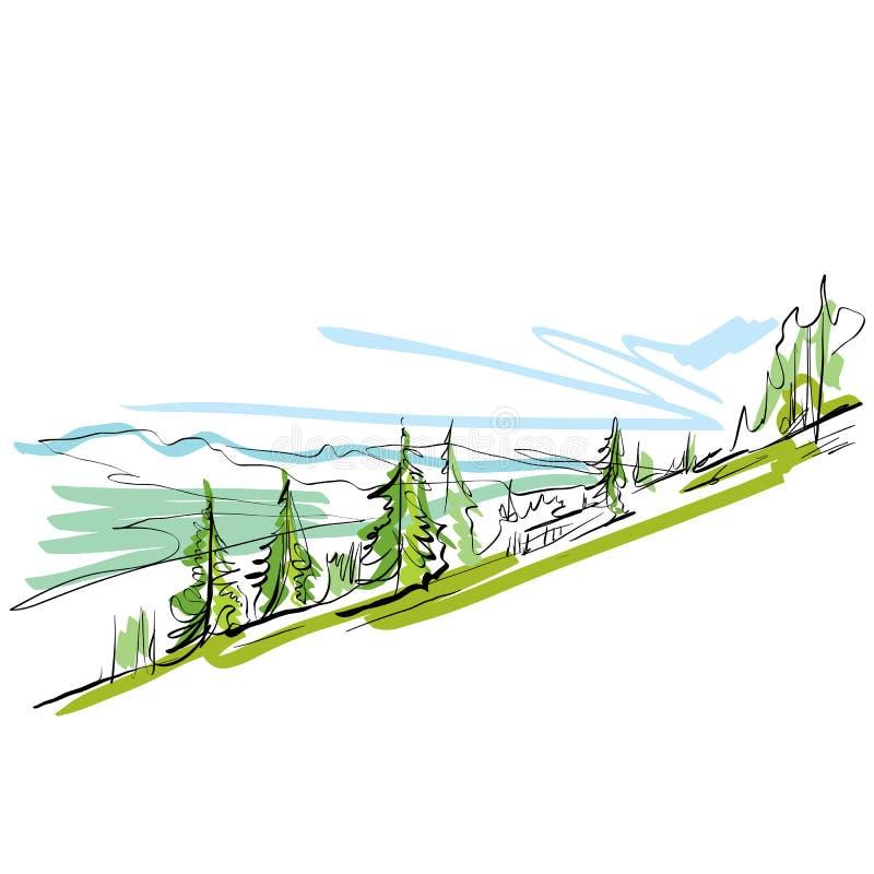 Kolorowa ręka rysujący krajobraz, obrazkowe góry ilustracji