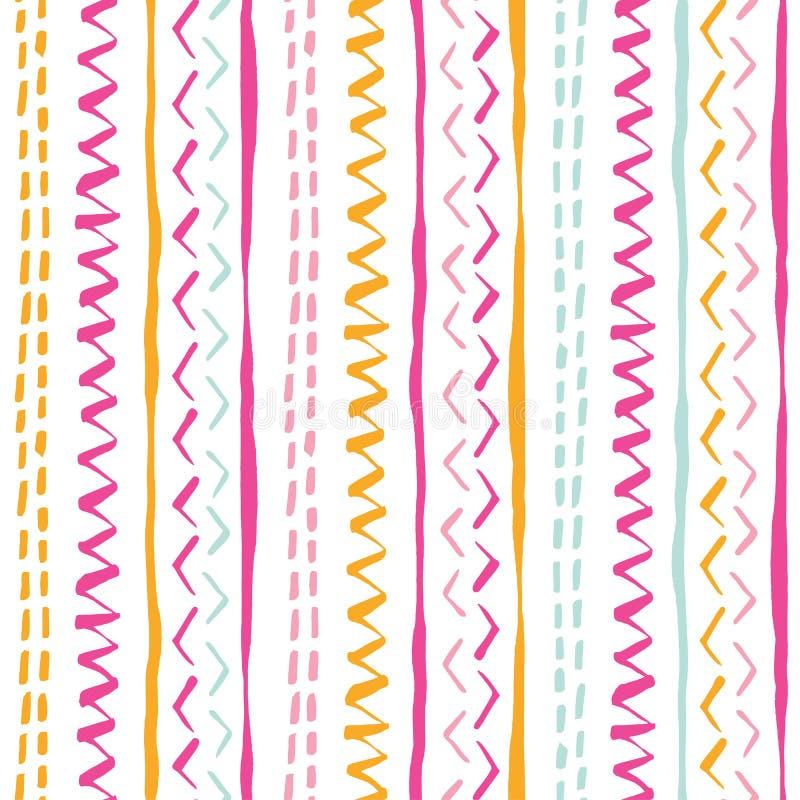 Kolorowa ręka rysujący plemienni lampasy, ściegi na białego tła wektorowym bezszwowym wzorze Świeży geometryczny rysunek royalty ilustracja