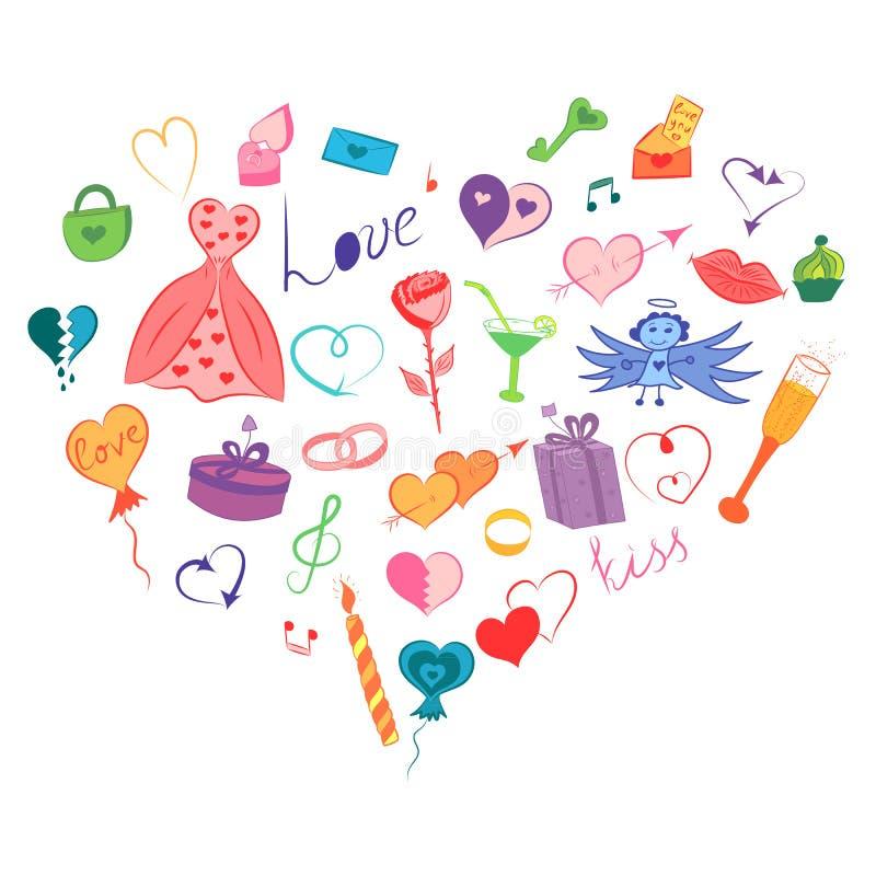 Kolorowa ręka Rysujący set walentynki ` s dnia symbole Dziecka ` s Doodle Śmieszni rysunki serca, prezenty, pierścionki, Szybko s royalty ilustracja