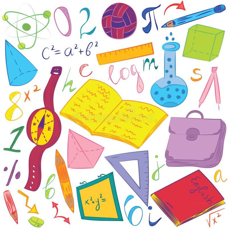 Kolorowa ręka Rysujący Szkolni symbole Dziecko rysunki piłka, książki, ołówki, władcy, kolba, kompas, strzała obrazy stock
