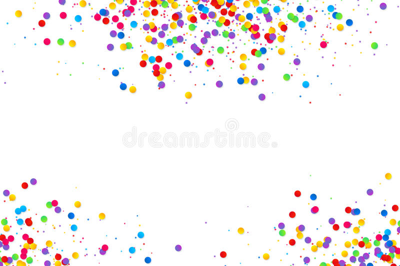 Kolorowa round confetti rama odizolowywająca na białym tle royalty ilustracja