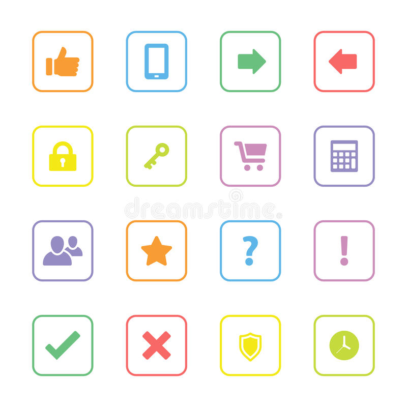 Kolorowa sieci ikona ustawia 2 z zaokrągloną prostokąt ramą ilustracji
