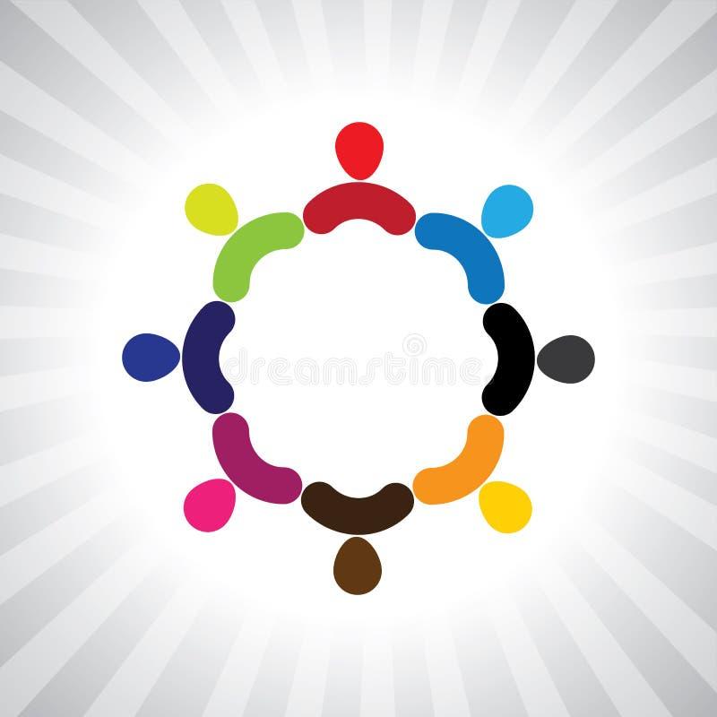 Kolorowa społeczność ludzie jako okrąg prosta wektorowa grafika ilustracja wektor