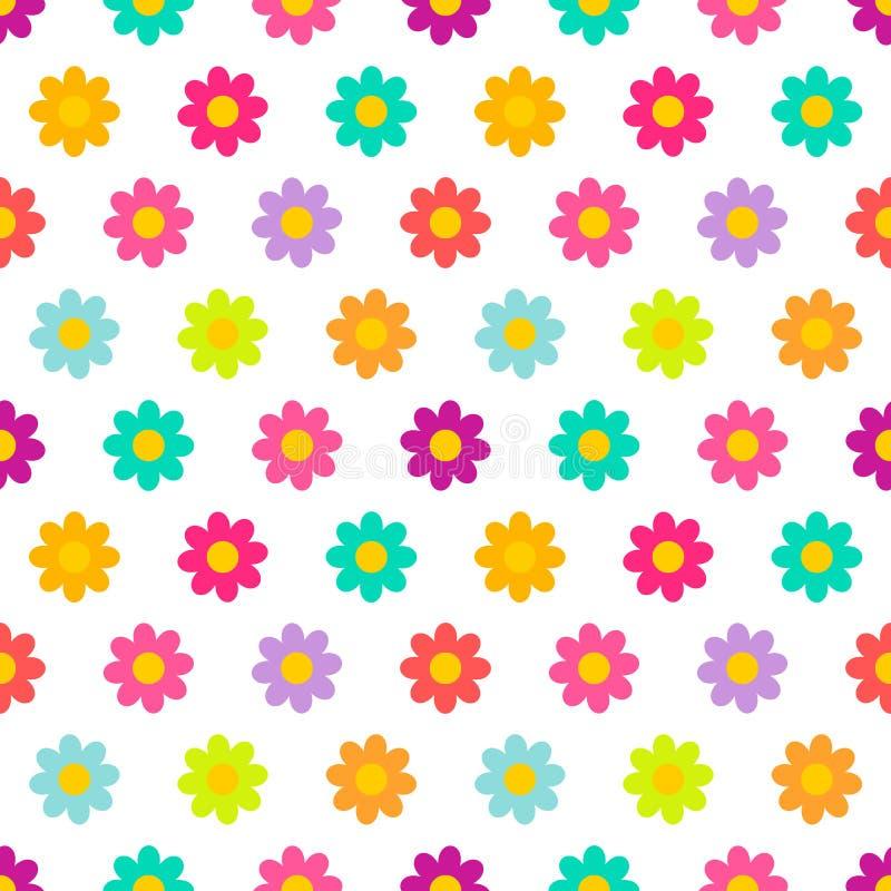 Kolorowa stokrotka kwitnie bezszwowego wzór royalty ilustracja