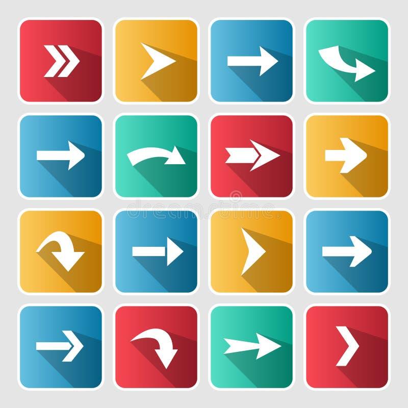 Kolorowa strzała zaokrąglający kwadratowy ikona set ilustracji
