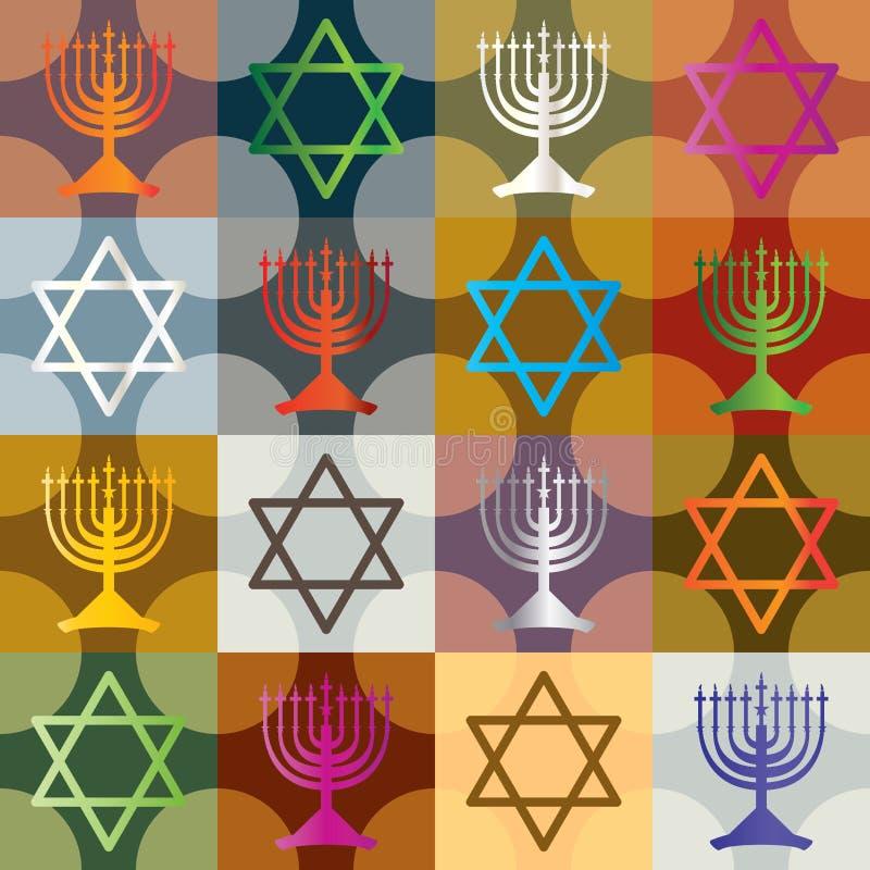 Kolorowa sylwetka Hanukkah Bezszwowy Pattern_eps royalty ilustracja