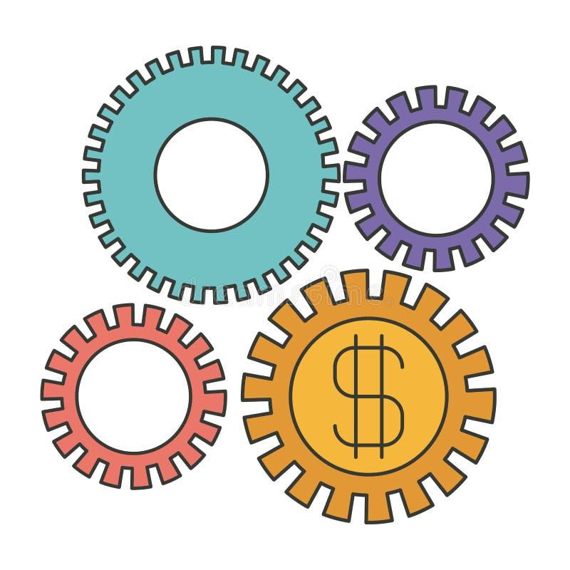 Kolorowa sylwetka rozwój gospodarczy grafika ilustracji