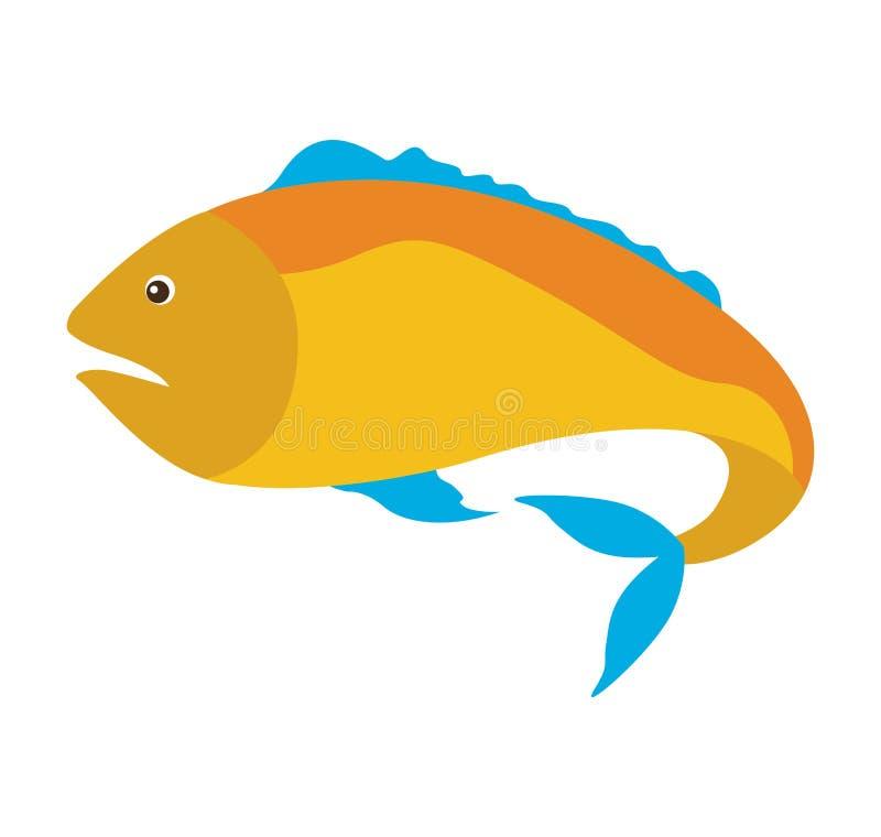 kolorowa sylwetka z dennej ryba kolorem żółtym i żebra błękitni royalty ilustracja