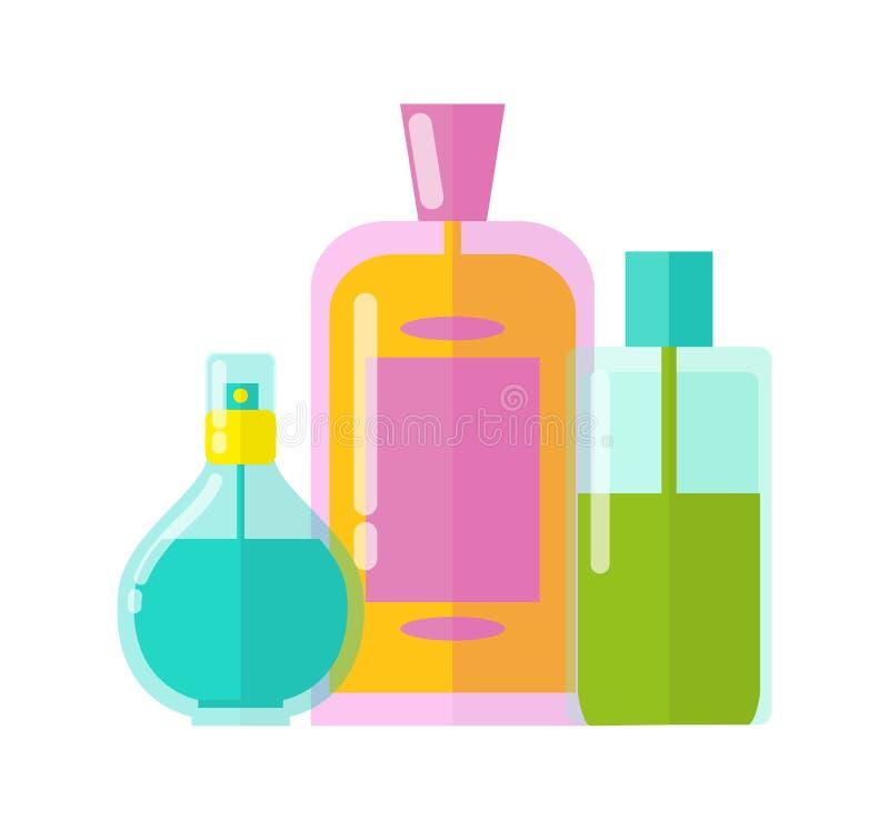 Kolorowa szablonów Trzy buteleczek wektoru ilustracja royalty ilustracja