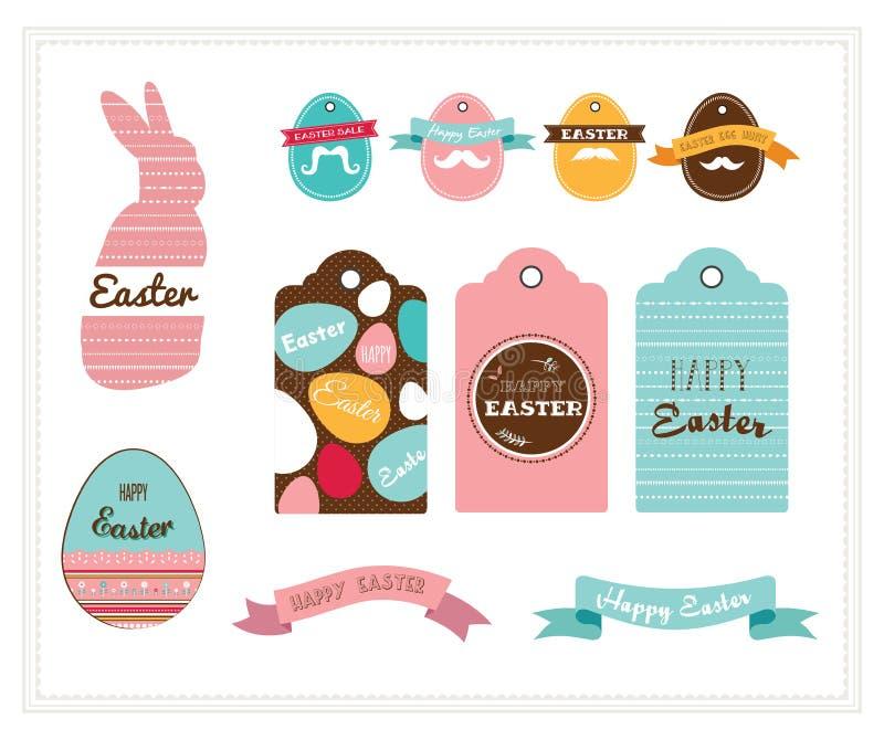 Kolorowa Szczęśliwa Wielkanocna kolekcja ikony z królikiem, królikiem, jajkami i sztandarami, ilustracji