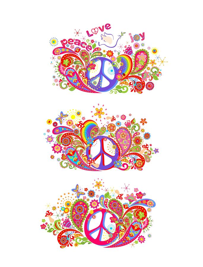 Kolorowa t druków koszulowa kolekcja z hipisa pokoju symbolem, lata gołąbki z gałązką oliwną, abstraktów kwiaty, pieczarki, Paisl royalty ilustracja