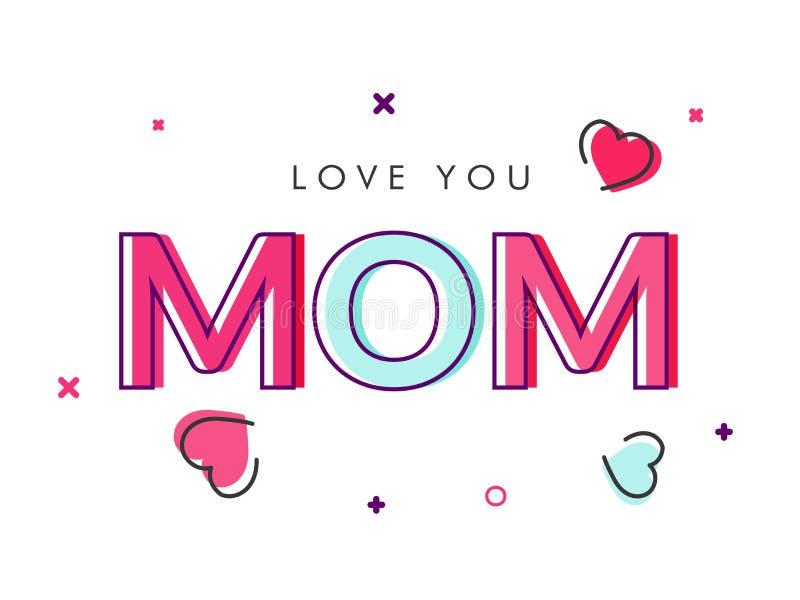 Kolorowa tekst miłość Ty mama ilustracji