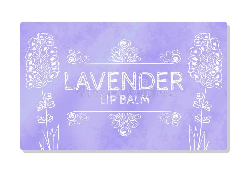 Kolorowa textured etykietka, majcher dla kosmetycznych produktów Pakuje projekt pomadka z smakiem lawenda wektor ilustracji