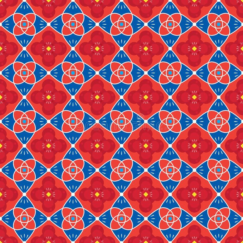 Kolorowa tradycja Kwitnie Bezszwowego Deseniowego tło royalty ilustracja
