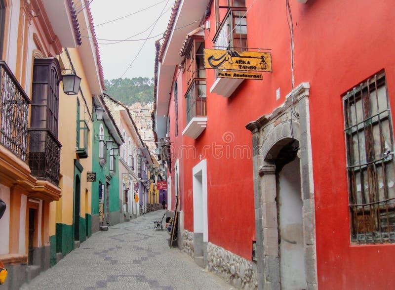 Kolorowa ulica w losie angeles Paz, Boliwia fotografia royalty free