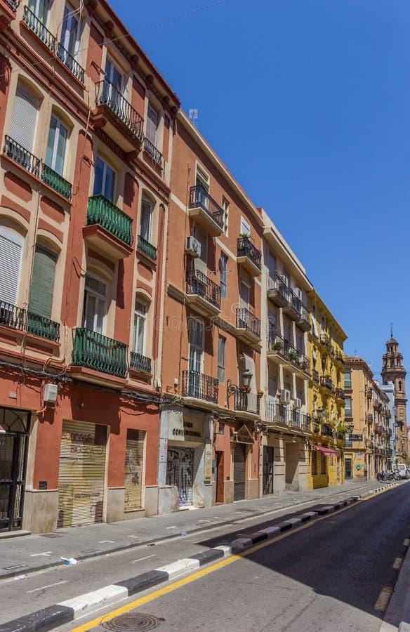 Kolorowa ulica w Russafa neighbourhood Walencja zdjęcie royalty free