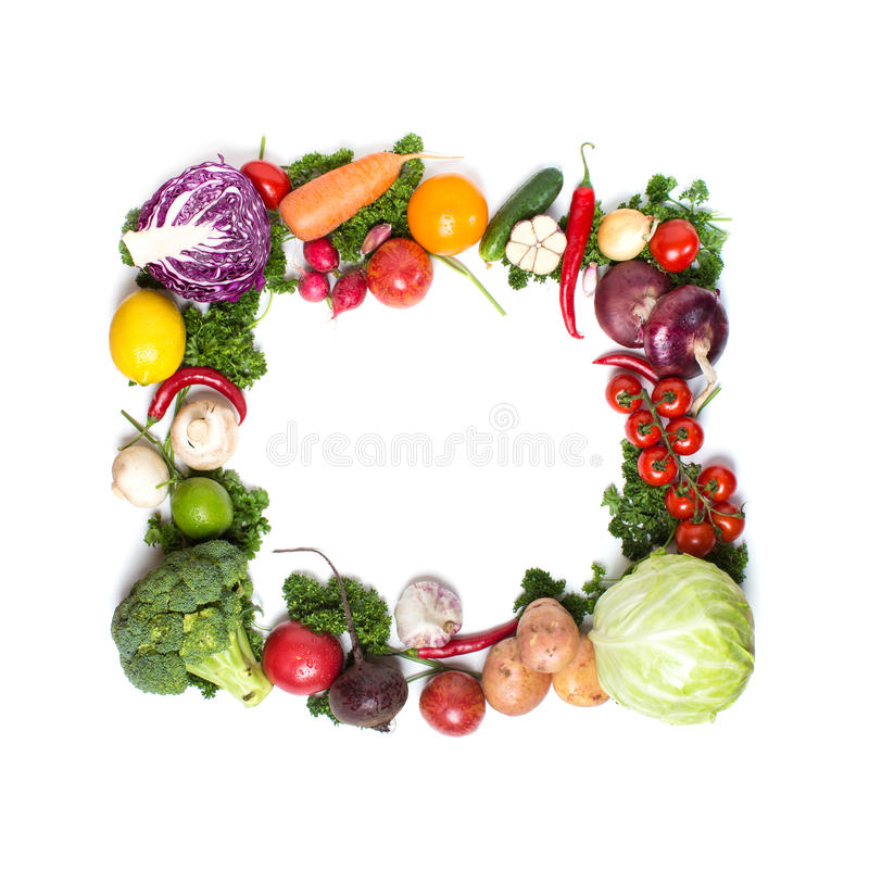 Kolorowa warzywo rama, zdrowy karmowy pojęcie obraz stock
