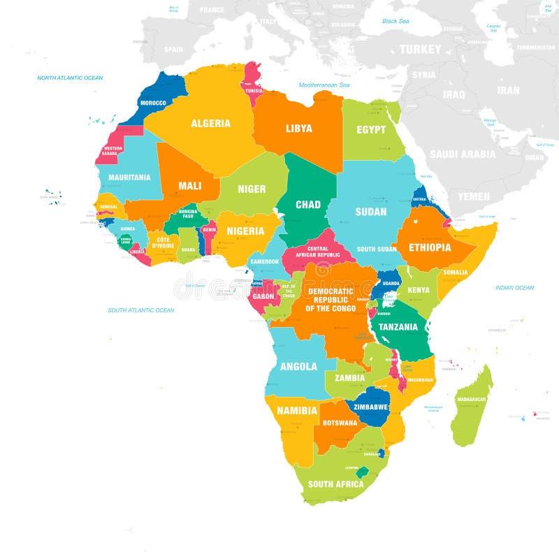 Kolorowa Wektorowa mapa Afryka ilustracja wektor