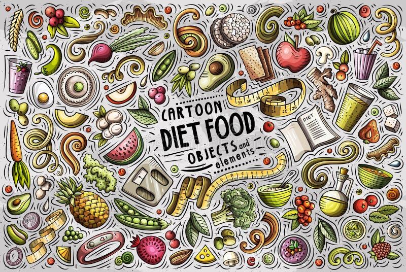 Kolorowa wektorowa ręka rysująca doodle kreskówka ustawiająca dieta karmowy temat protestuje royalty ilustracja
